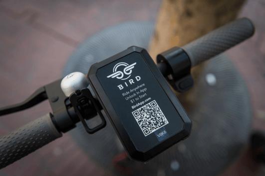 E-Scooter Lenker mit QR-Code
