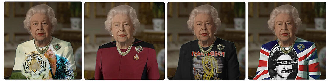Queen Elizabeth II. mit in Photoshop montierten Outfits