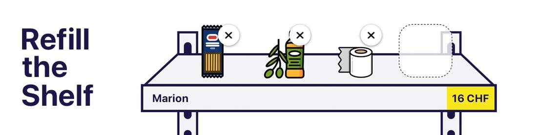 Screenshot der Website von einem gefülltem Regal, dass gespendet werden kann.