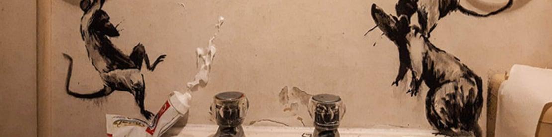 Foto von aufgesprayten Ratten über dem Waschbecken.