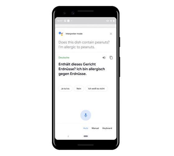 Smartphone Screen mit Beispielsatz im Google Interpreter Mode