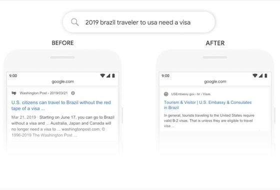 Beispiel eines vorher/nachher Suchergebnisses auf Google