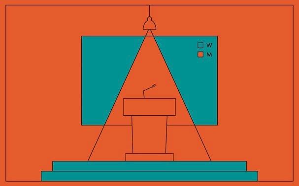 Illustration eines leeren Pultes auf Bühne