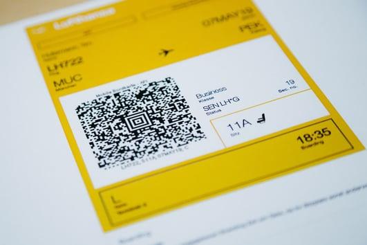 Flugticket Boardingpass mit QR-Code