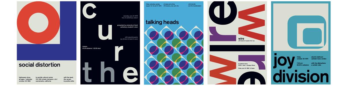 Konzertplakate aus dem Projekt Swissted
